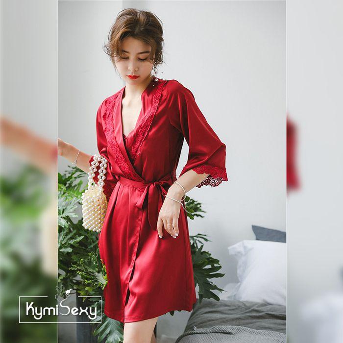 Set đầm ngủ phi lụa kèm áo choàng ren hoa hồng