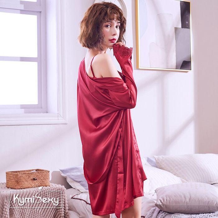 Set đồ ngủ phi lụa 5 món cao cấp ( Quần dài + Quần ngắn + Áo 2 dây + Đầm +Áo choàng )
