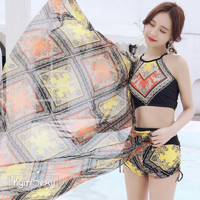 Set đồ thun đi biển kèm khăn choàng