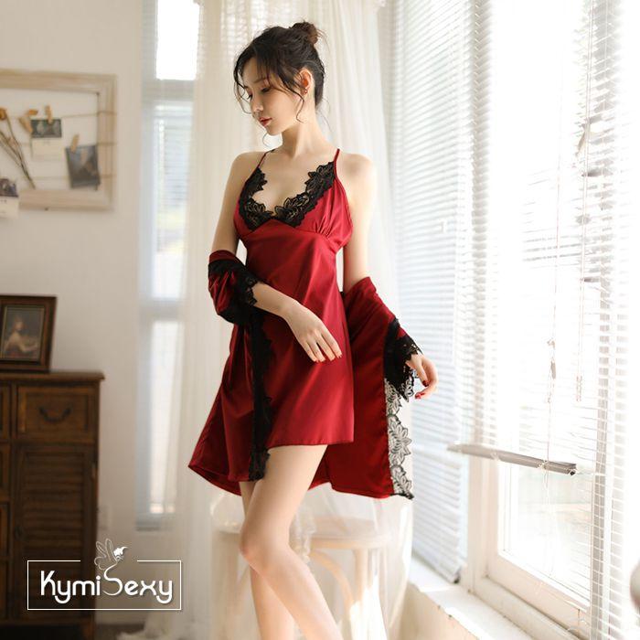 Set váy ngủ phi lụa 2 dây kèm áo choàng viền ren