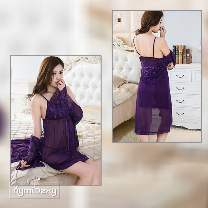 Set váy ngủ voan lưới kèm áo choàng tay loa