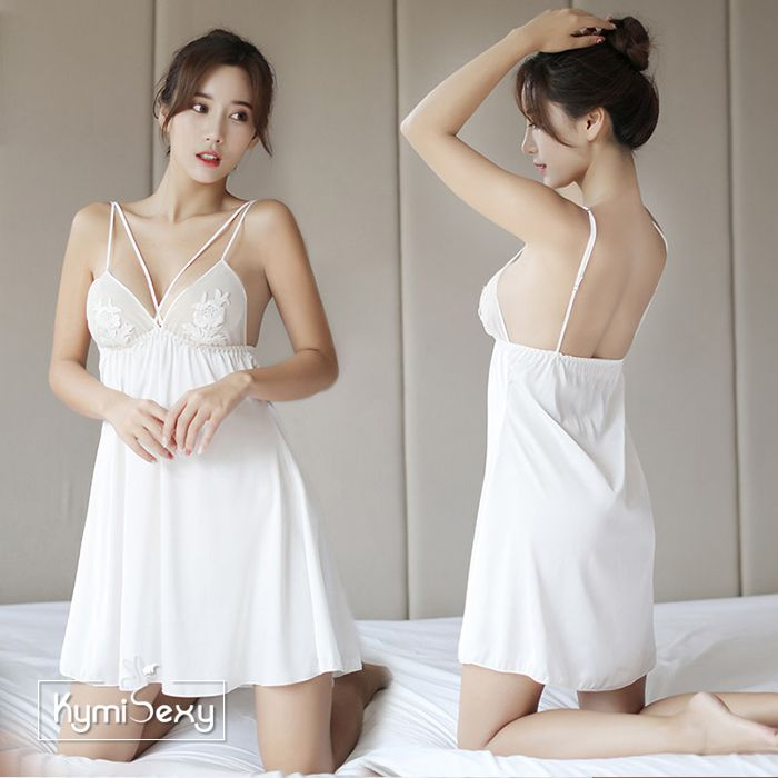 Váy ngủ 2 dây phi lụa kết hoa ngực