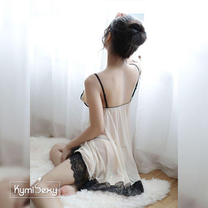 Váy ngủ 2 dây voan lưới phối ren màu