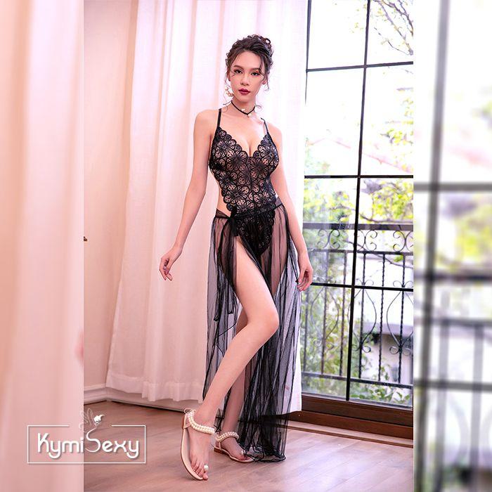 Váy ngủ liền mảnh kèm chân váy lưới dài