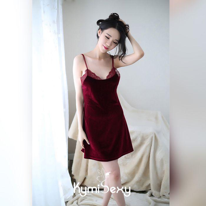 Váy ngủ nhung phối ren gợi cảm