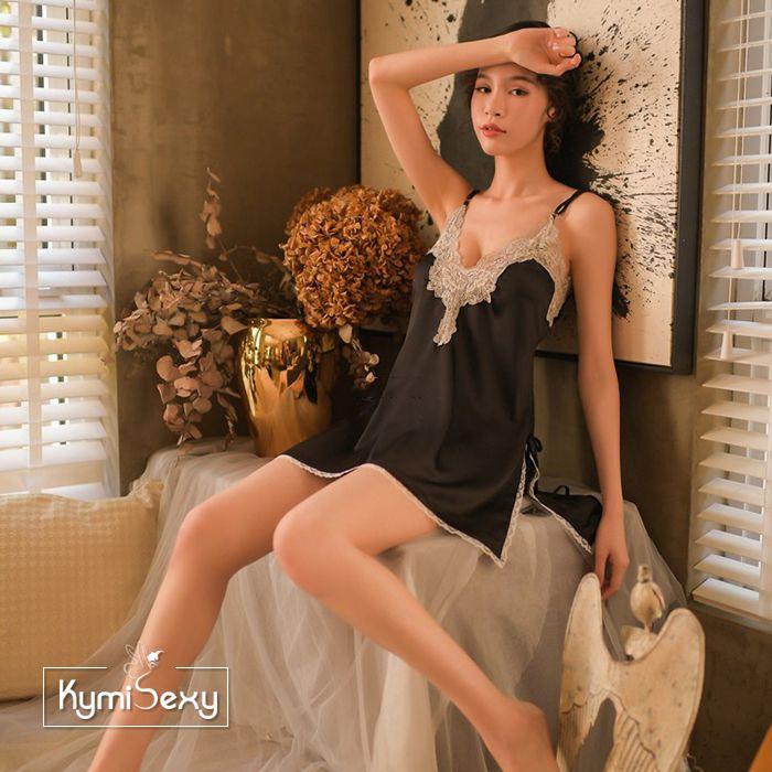 Váy ngủ nữ cổ chữ V xẻ tà viền ren