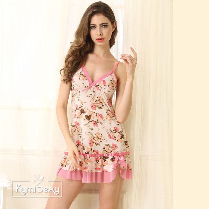 Váy ngủ nữ thun lạnh hình hoa hồng