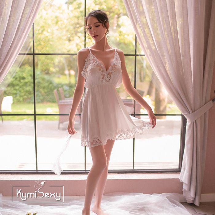 Váy ngủ phi lụa 2 dây cổ chữ V viền ren