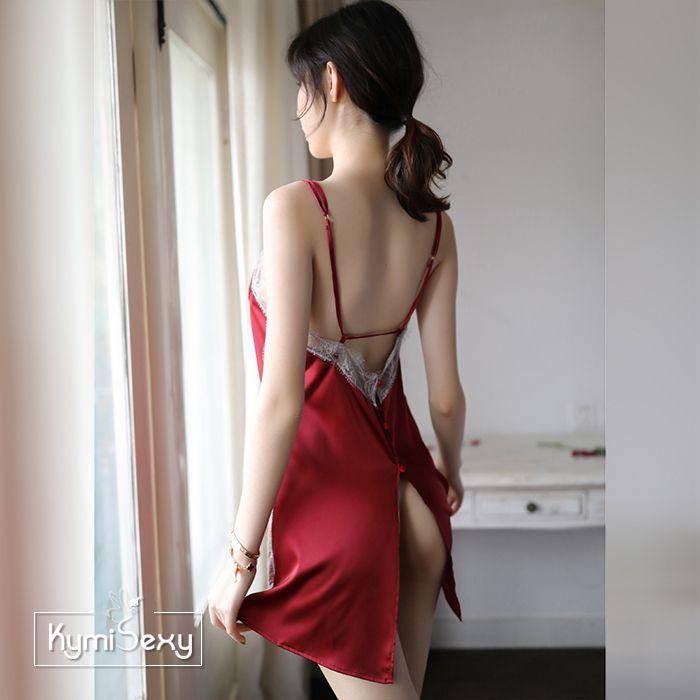 Váy ngủ phi lụa 2 dây viền ren hông