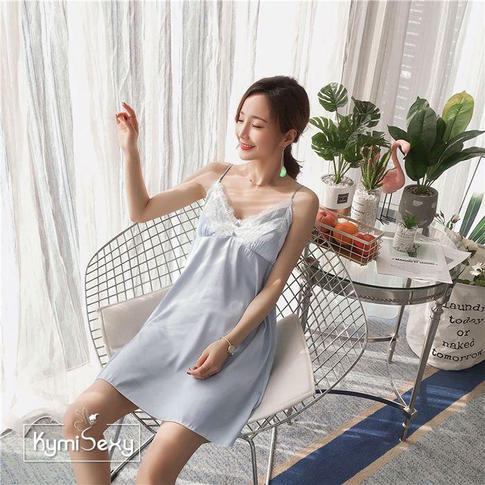 Váy ngủ phi lụa 2 dây viền ren trắng