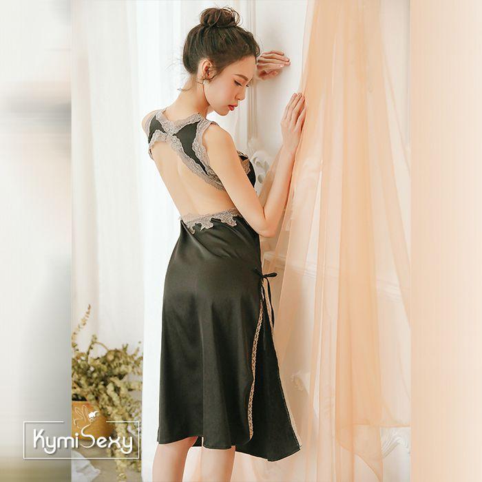 Váy ngủ phi lụa dáng dài viền ren xẻ tà