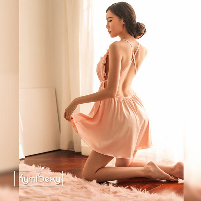 Váy ngủ phi lụa viền bèo ngực