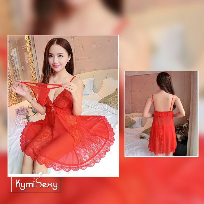 Váy ngủ ren hoa dáng xòe viền voan lưới