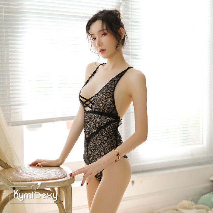 Váy ngủ ren hoa liền quần dây chéo lưng
