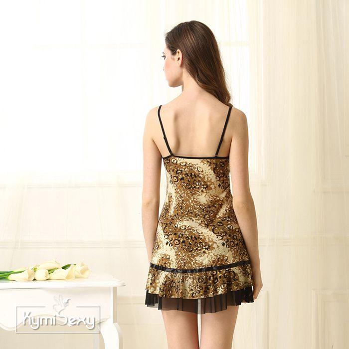 Váy ngủ thun lạnh họa tiết vàng