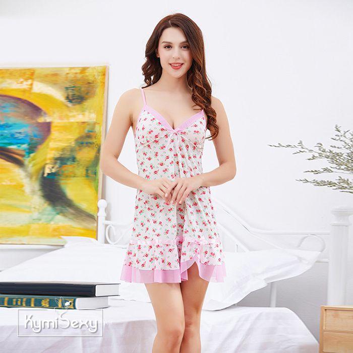 Váy ngủ thun lạnh hoa viền hồng