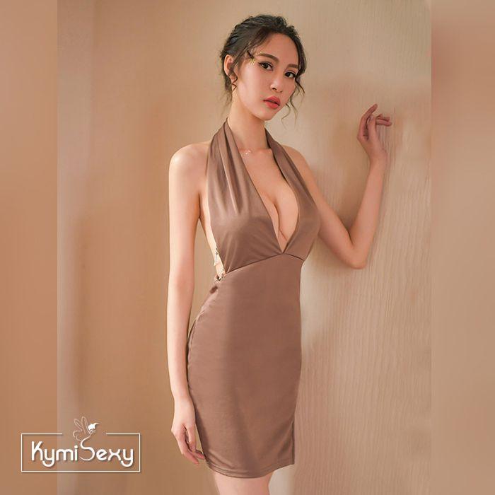 Váy ngủ thun xẻ ngực phối dây kim loại