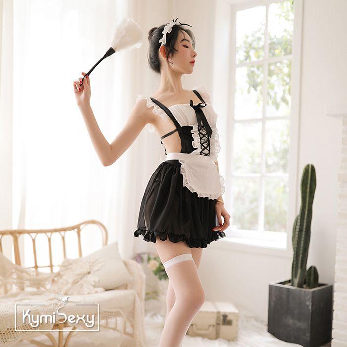 Váy ngủ trắng đen kiểu người hầu