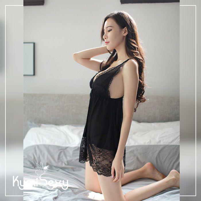 Váy ngủ voan lưới hở ngực viền ren bản lớn