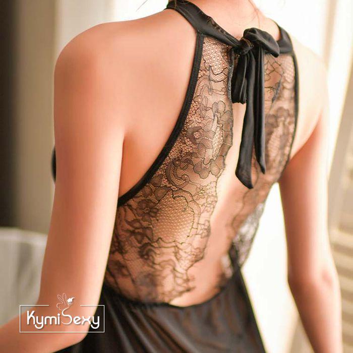 Váy ngủ voan lưới tà dài phối ren