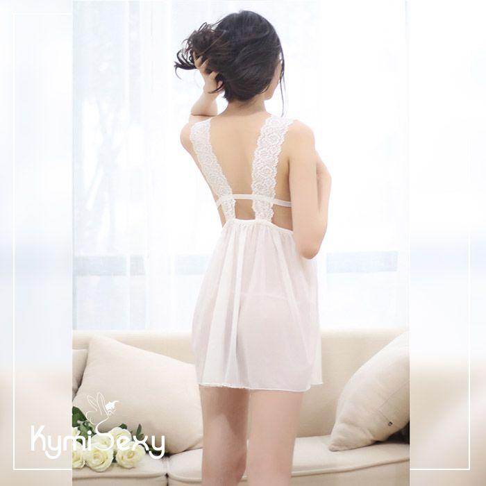 Váy ngủ voan lưới xẻ ngực viền ren quyến rũ