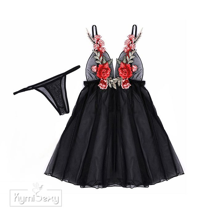 Váy ngủ voan lưới xẻ tà thêu hoa gợi cảm