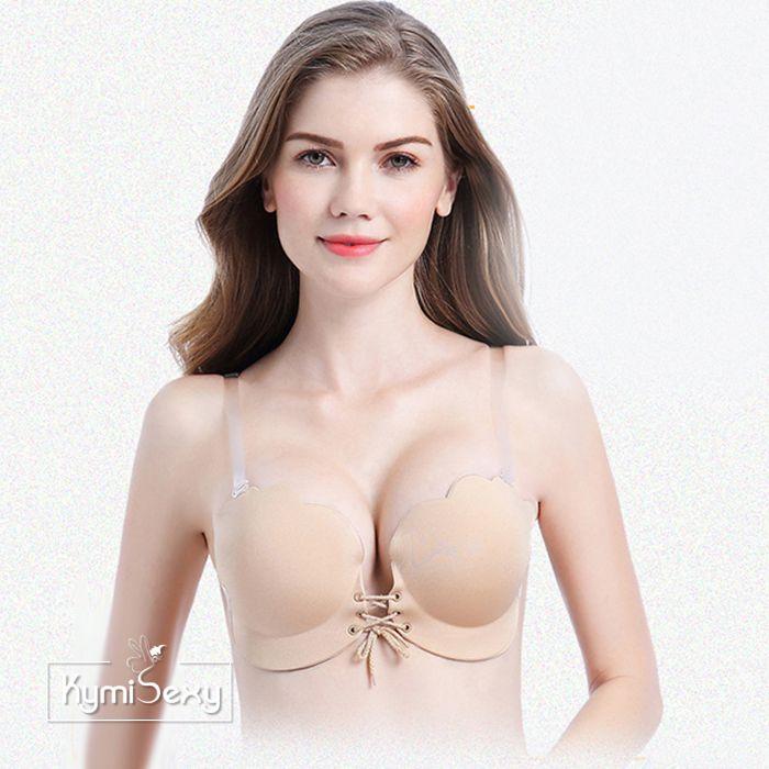 KymiÁo ngực dán nâng Silicon hình sò có dây rút