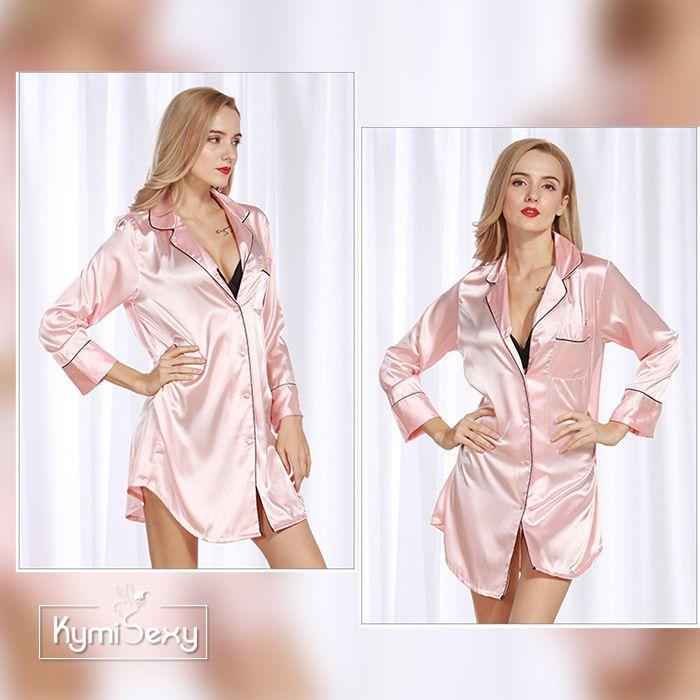 Đầm ngủ phị lụa kiểu Pijama