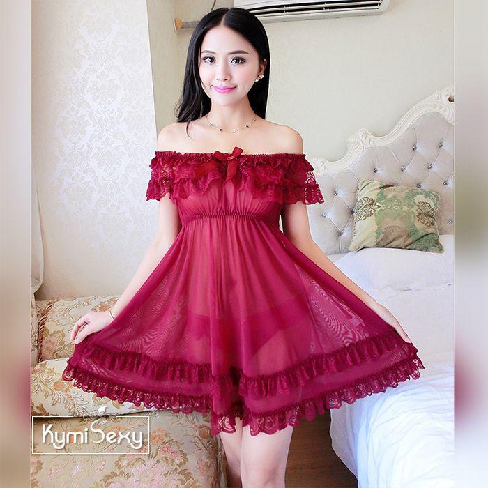 Váy ngủ dáng xòe hở vai gợi cảm