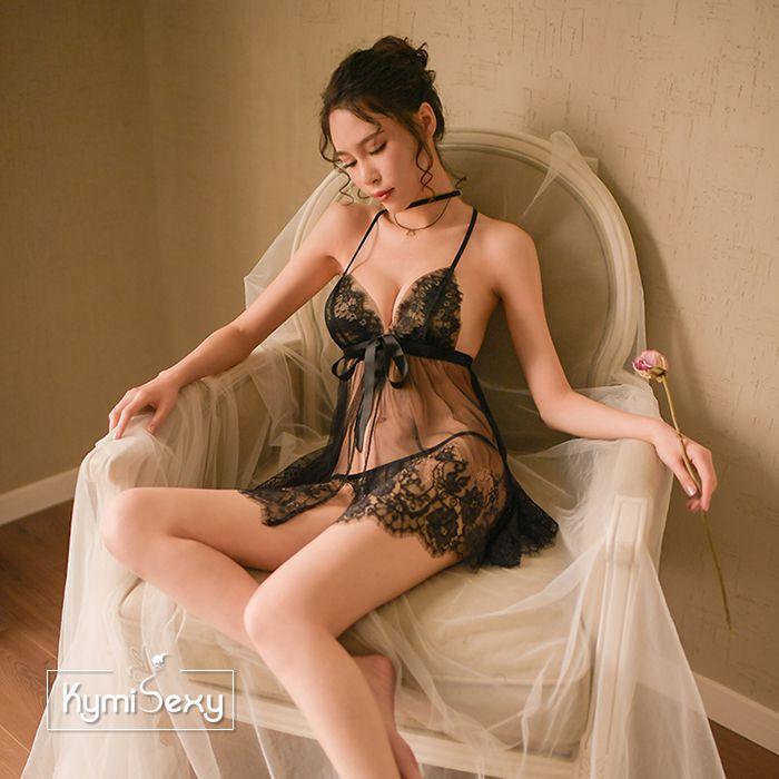 Váy ngủ nữ 2 dây voan lưới xẻ tà 2 mảnh