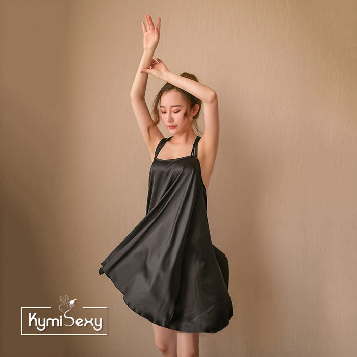 Váy ngủ nữ phi lụa dáng rộng phối dây lưng