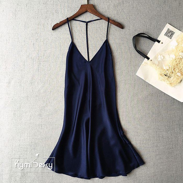 Váy ngủ nữ phi lụa dây lưng chữ T