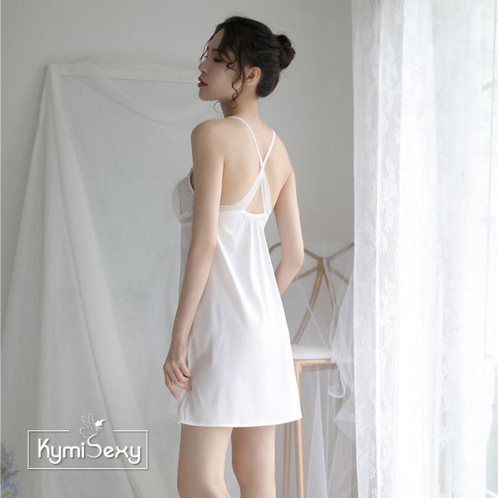 Váy ngủ nữ phi lụa ren ngực chéo lưng