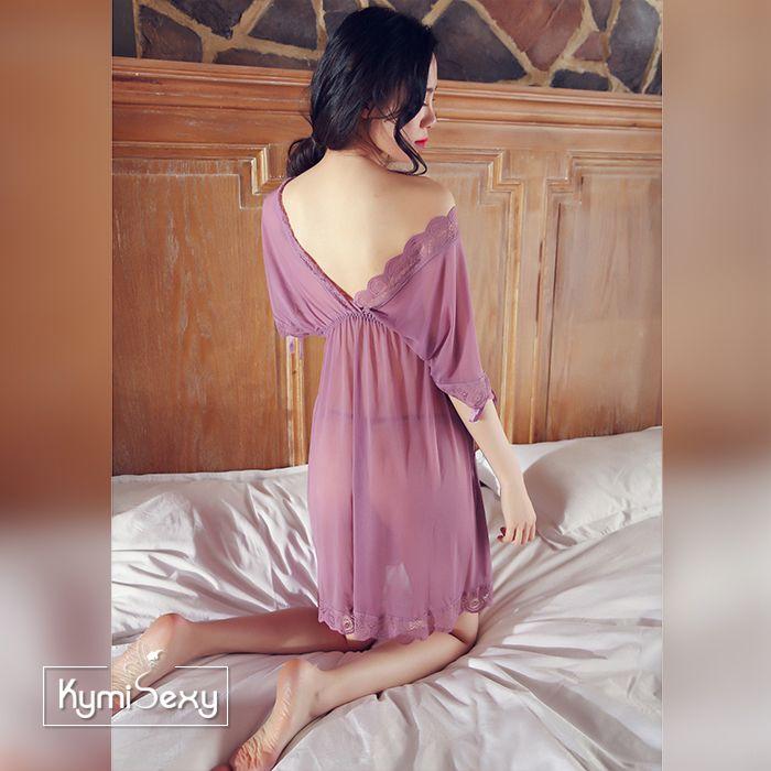 Váy ngủ voan lưới cổ chữ V trễ vai
