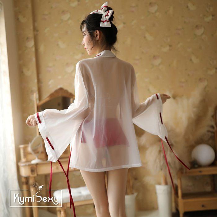 Set đồ ngủ y tá chân váy xếp ly kèm áo choàng
