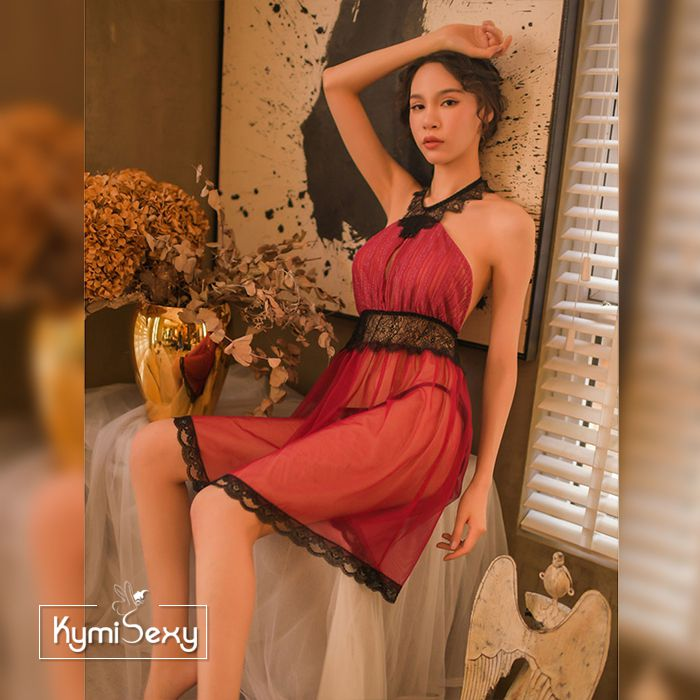 Váy ngủ nữ ren lưới cổ yếm
