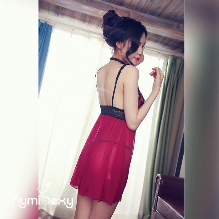 Váy ngủ viền ren hoa đen gợi cảm