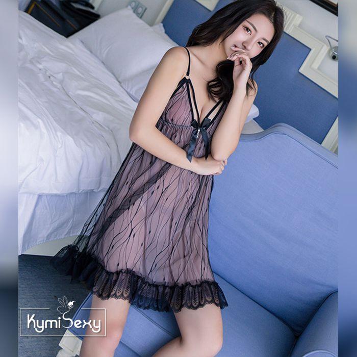 Váy ngủ voan lưới phối họa tiết đẹp