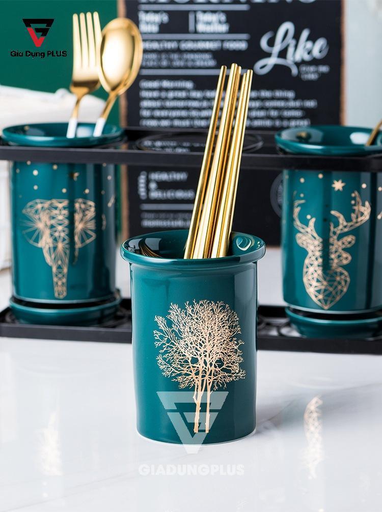 Bộ Ba Ống Đựng Đũa, Thìa BằngSứ Màu Xanh Ngọc Lục Bảo Đặt Bàn Cho Nhà Hàng, Phòng Bếp Sang Trọng & Cao Cấp| Ống đũa trang trí hình cây cối
