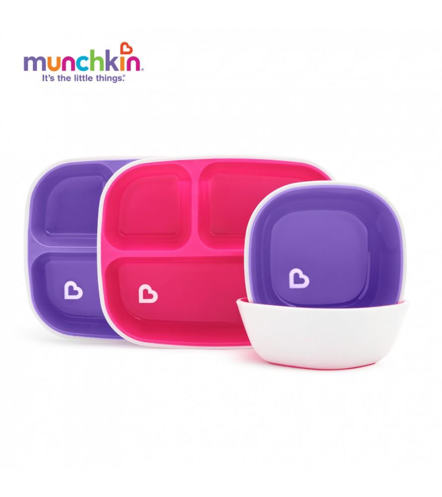 Bộ hai đĩa chia ngăn chống trượt munchkin hồng tím