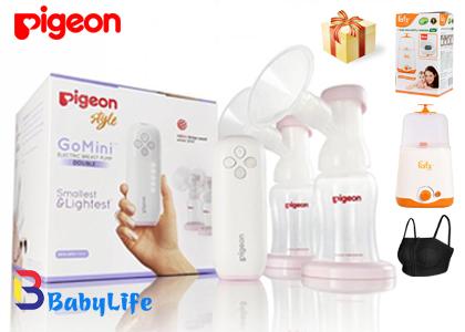 Máy hút sữa Pigeon Gomini kèm quà tặng máy hâm sữa áo hút sữa