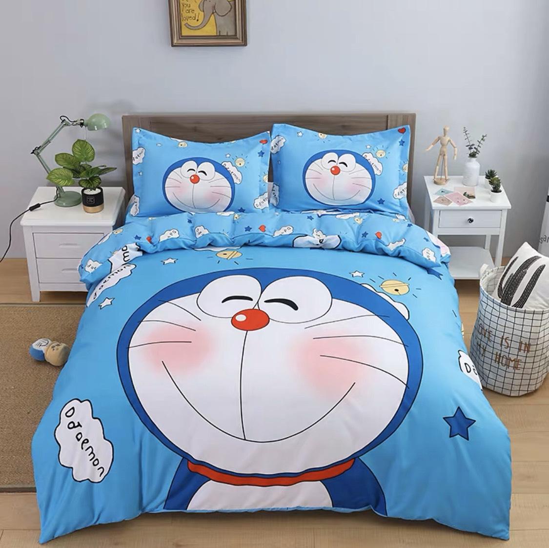 Bộ ga giường 4 món hình hoạt in 5D in theo yêu cầu Cotton Terry 10