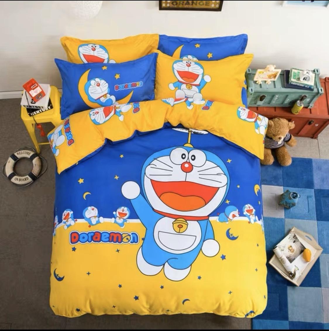 Bộ ga giường 4 món hình hoạt in 5D in theo yêu cầu Cotton Terry 09