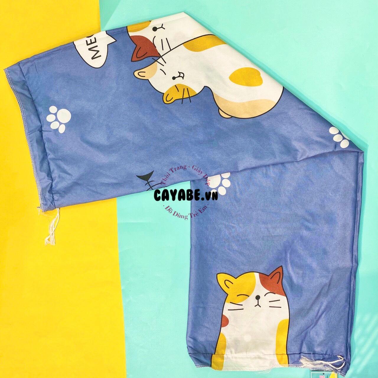 Vỏ gối ôm hình mèo màu xanh