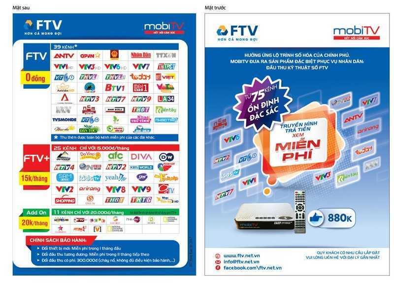 Danh sách kênh đầu thu FTV