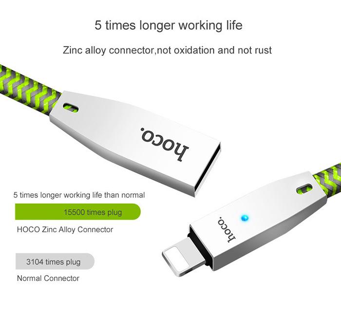 Dây cáp sạc tự ngắt Hoco U11 Lightning cho iphone 9