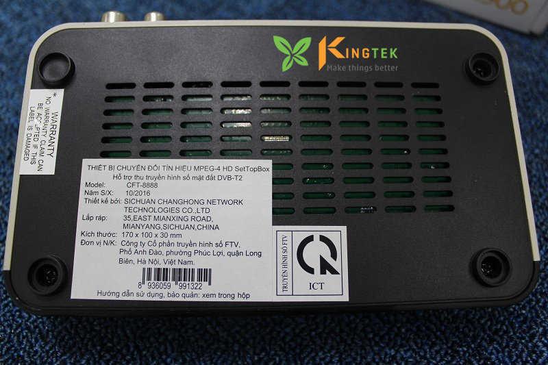 Xuất sứ thiết bị đầu thu FTV CFT 8888 ở mặt dưới