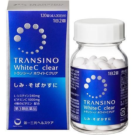 Viên uống trắng da Transino White C Clear 120 viên cải thiện nám tàn nhang