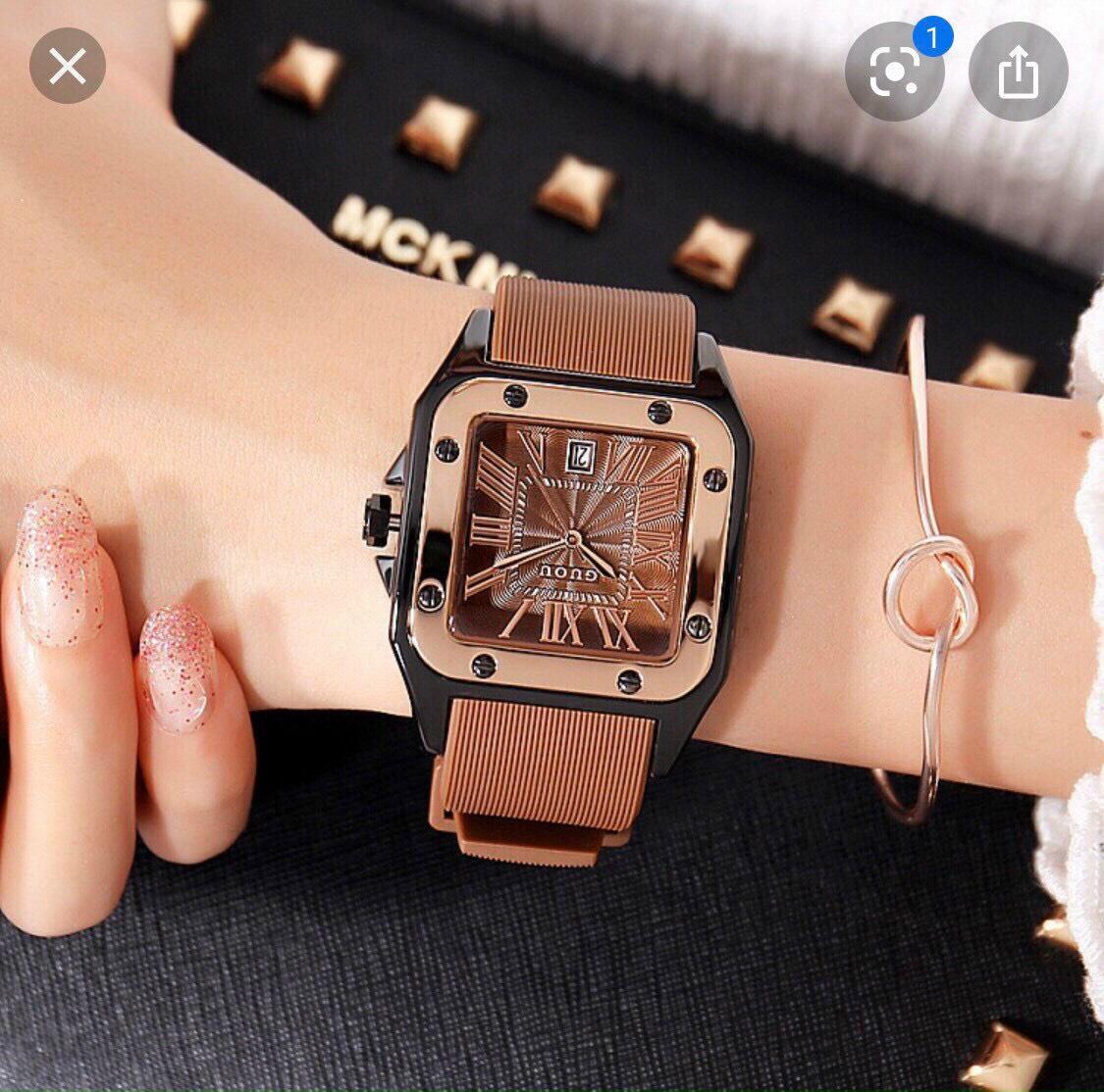 [HÀNG MỚI VỀ] Đồng hồ nữ GUOU mặt vuông size 36mm dây silicon cao cấp