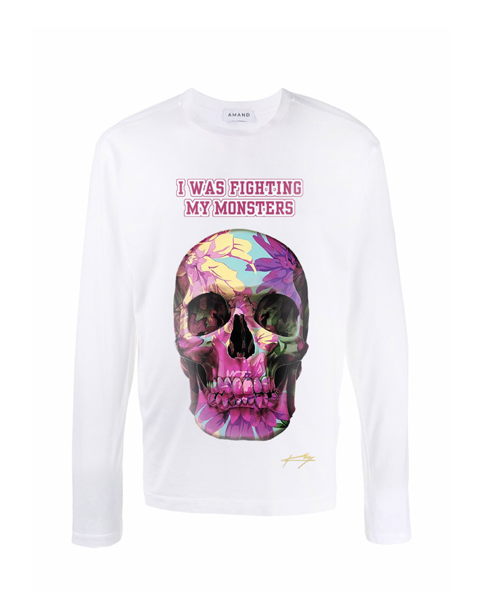 Floral Skull Long Sleeve T-shirt